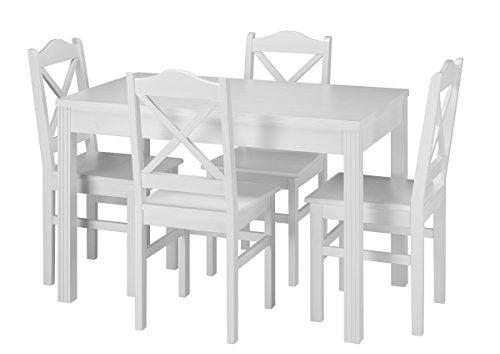 Erst-Holz® Landhaus-Essgruppe mit Tisch und 4 Stühle Kiefer Massivholz waschweiß 90.70-51 C W-Set 20