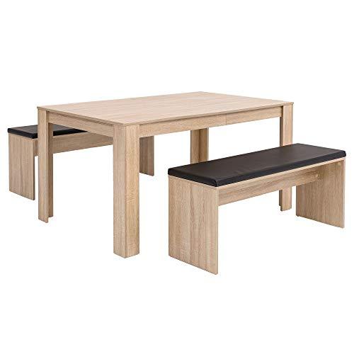 FineBuy Esszimmer-Set FB51797 Sonoma Eiche Esstisch mit 2 Bänken Holz Modern | Essgruppe Tischgruppe Küche Klein | Esszimmergarnitur Sitzgruppe Komplett | Esstischgruppe 3 Teilig Platzsparend