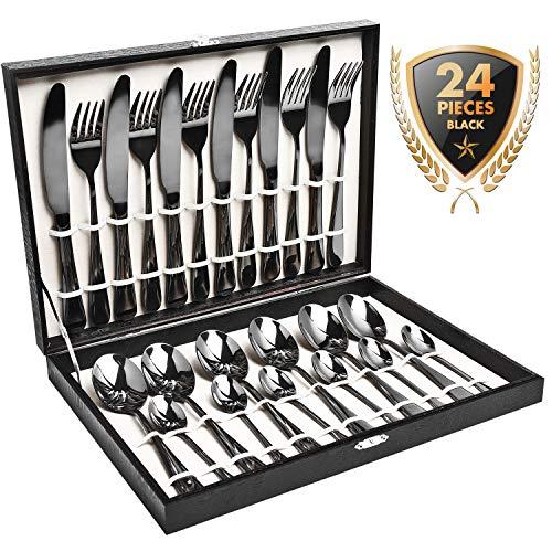 HOBO Besteck, Besteck Set 24 Stück, Black Gold Edelstahl Besteck-Sets, Utensilien Set gehören Messer, Gabeln, Löffel, Dessert-Löffel, Bedienung für 6