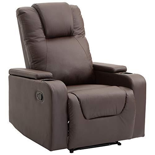 HOMCOM Relaxsessel mit Armlehnen Couch-Sessel Liegesessel mit 2 Getränkehalter L85 × B98 × H103 cm