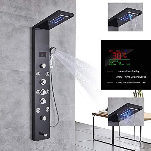 Hochwertiges LED Duschpaneel aus rostfreiem Edelstahl mit Temperaturanzeige und 8 Massagedüsen Farbe: Schwarz