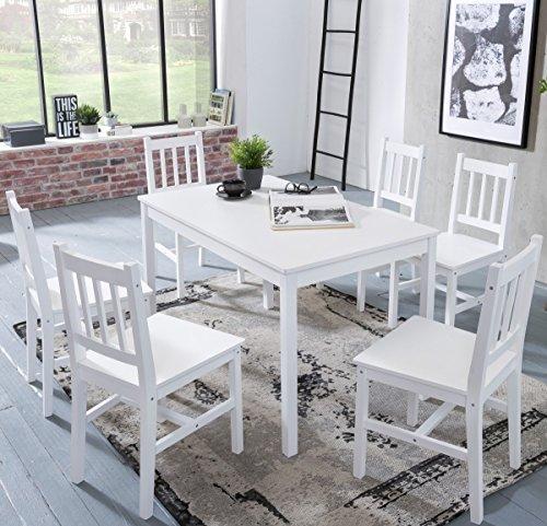 KADIMA DESIGN Esszimmer-Set Emil 7 teilig Kiefer-Holz weiß Landhaus-Stil 120 x 73 x 70 cm | Natur Essgruppe 1 Tisch 6 Stühle | Tischgruppe Esstischset 6 Personen | Esszimmergarnitur massiv
