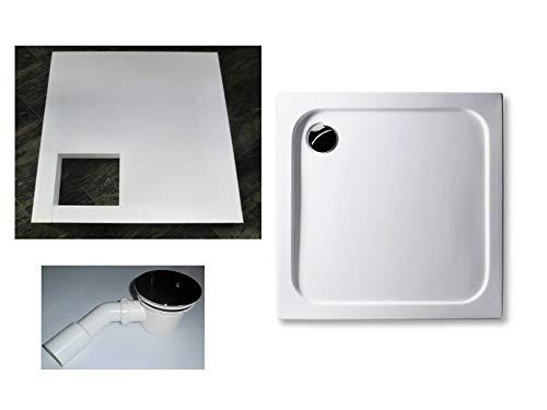 KOMPLETT-PAKET: Duschwanne 80 x 80 cm superflach 2,5 cm weiß Dusche mit GERADER UNTERSEITE Acryl + Styroporträger/Wannenträger + Ablaufgarnitur chrom DN 90
