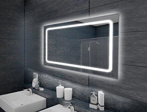 LEBENSwohnART KROLLMANN LED-Badspiegel TOBI 100x65cm Touch Sensor Wandspiegel mit Beleuchtung