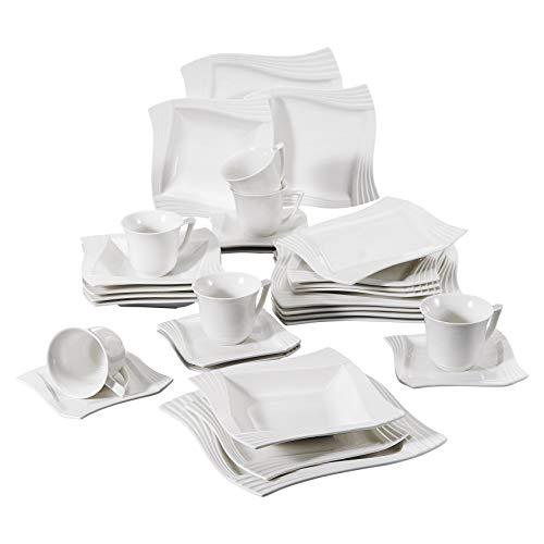 MALACASA, Serie Amparo, 30 TLG. Cremeweiß Porzellan Geschirrset Kombiservice mit je 6 Kaffeetassen, 6 Untertassen, 6 Dessertteller, 6 Suppenteller und 6 Flachteller