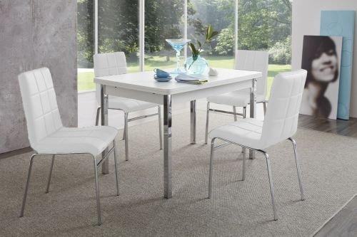 Möbel-Store24 Sitzgruppe Tischgruppe Hermes/Linda 5 Teilig Tisch Perlweiß und Stühle Weiß