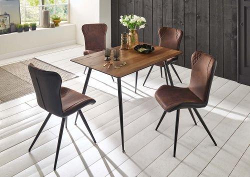 Möbelstore24 Tischgruppe Sitzgruppe Valery/Victor 5 Teilig, Tisch und Stühle Vintage Java Dunkelbraun
