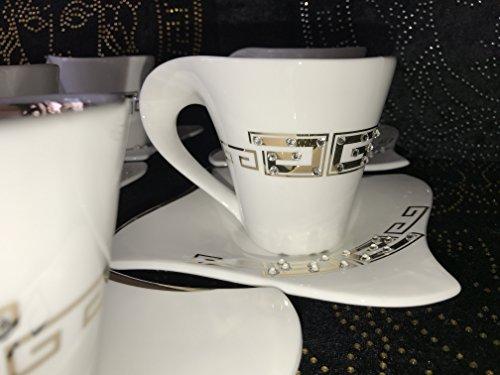 Medusa Service Kaffee Kombiservice Tassen Geschirr Tafel Set Porzellan Gold mit Kristall Steine NEUHEIT