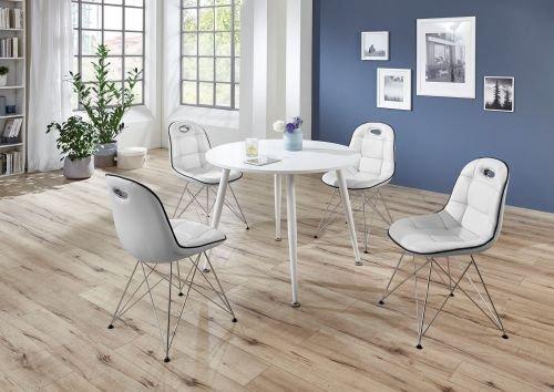 MoebelStore24 Sitzgruppe Tischgruppe Anja/PEP 1 Tisch Weiß und Stühle Weiß/Schwarz 5 Teilig
