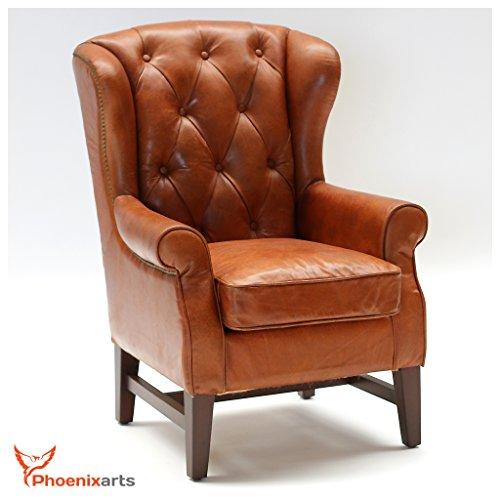 Phoenixarts Chesterfield Vintage Ledersessel Braun Schwarz Echtleder Ohrensessel Design Clubsessel Lounge Sessel (Hellbraun)