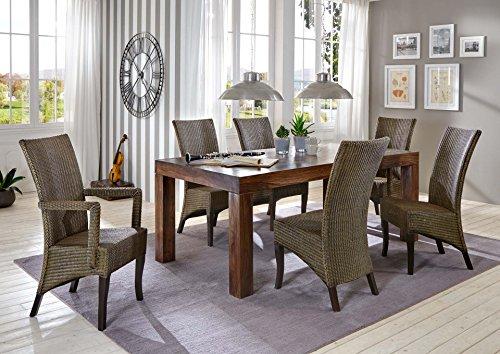 SAM 7tlg. Esszimmer-Tischgruppe Cubus, Tisch aus Sheesham mit 6 Rattanstühlen, Esstisch geölt in 160 cm + 2X Armlehnstuhl Mai + 4X Stuhl Mai
