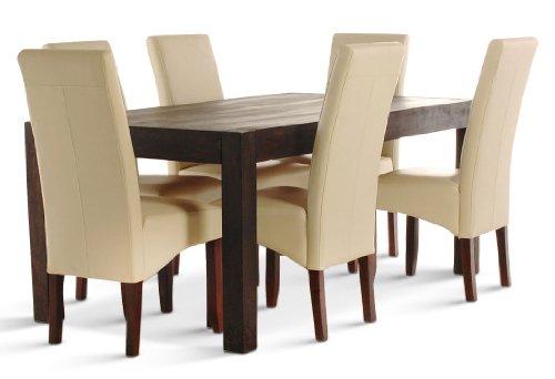 SAM Tischgruppe 7 tlg Wales Palisander massiv 1 x Tisch 180x100 6x Stuhl creme, Essgruppe