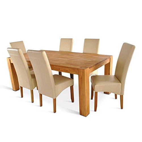 SAM® Tischgruppe Zeus (Tisch wahlweise 170 x 85cm, 200 x 105 cm und 220 x 105 cm) Wildeiche massive SIT 7tlg, Tisch und sechs Stühle Bozen, natürlicher Stil, Stühle in Bozen creme/eiche, hohe Rückenlehne, angenehme Polsterung, pflegeleichte Oberfläche, Lieferung mit Spedition und telefonische Avisierung