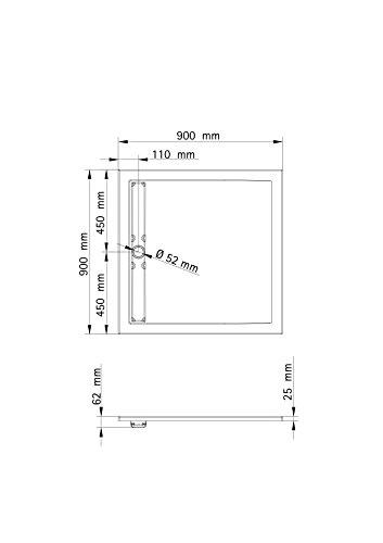 Schulte Duschbecken extra-flach 90x90 cm Sanitär-Acryl inkl Ablauf und Füßen Parma, 1 Stück, alpinweiß, 4056397003205