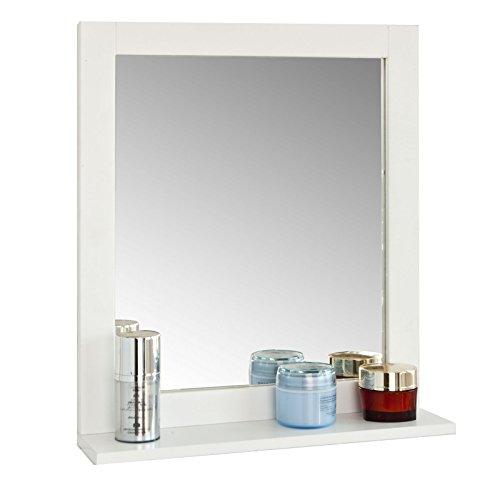 SoBuy Spiegel Badspiegel mit Haartrockner Halter Wandspiegel mit Ablage Hängespigel in Weiß