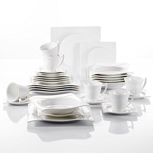 Vancasso Aurora 30-teilig Eckiges Kombiservice aus Porzellan, mit Kaffeetasse, Untertasse, Dessertteller, Suppenteller und Speiseteller für 6 Personen