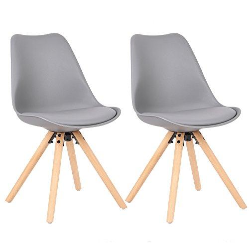 WOLTU® 2 x Esszimmerstühle 2er Set Esszimmerstuhl, Sitzfläche aus Kunstleder, Designerstuhl, Küchenstuhl aus Massivholz, 1045