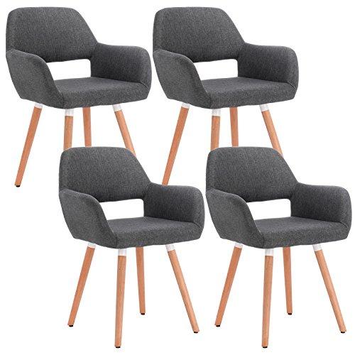 WOLTU® 4er Set Esszimmerstühle Küchenstühle Wohnzimmerstühle Design Stuhl mit Armlehne und Rückenlehne, mit Holzbeinen, Sitzfläche aus Stoffbezug(Leinen), Dunkelgrau, BH76dgr-4
