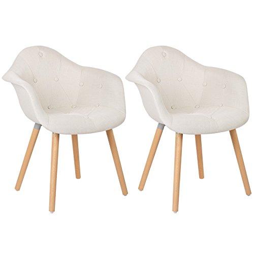WOLTU® #623 Esszimmerstühle 2er Set Esszimmerstuhl mit Lehne Design Stuhl Küchenstuhl Leinen Holz