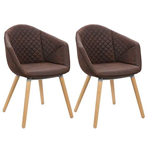 WOLTU #997 2er Set Esszimmerstühle Küchenstühle Wohnzimmerstuhl Polsterstuhl Design Stuhl Leinen in Antiklederoptik Massivholz