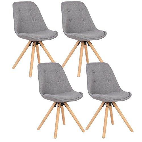 WOLTU® BH54gr-4 4 x Esszimmerstühle 4er Set Esszimmerstuhl, Sitzfläche aus Leinen, Design Stuhl, Küchenstuhl, Holzgestell, Grau