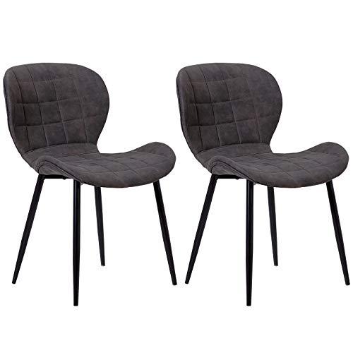 WOLTU® Esszimmerstühle #1178 2er Set Küchenstühle Wohnzimmerstuhl Polsterstuhl Design Stuhl Stoffbezug Gestell aus Stahl Antiklederoptik