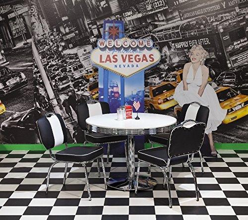 moebelstore24 Essgruppe Sitzgruppe American Diner Paul/King 2-50er Jahre 5 teilig Schwarz-weiß