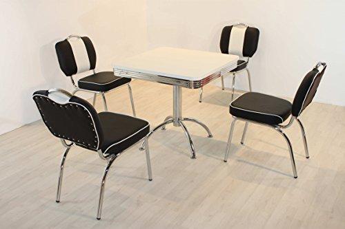 moebelstore24 Essgruppe Sitzgruppe American Diner Paul/King 5-50 er Jahre 5 teilig Schwarz-weiß