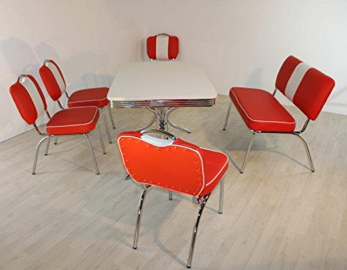 moebelstore24 Essgruppe Sitzgruppe American Diner Paul/King 6-50er Jahre 6 Teilig Rot-weiß