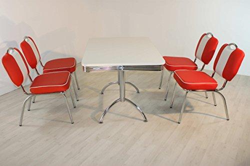 moebelstore24 Sitzgruppe American Diner Essgruppe Paul/King 4-50 er Jahre 5 teilig Rot weiß Tisch und Stuhl