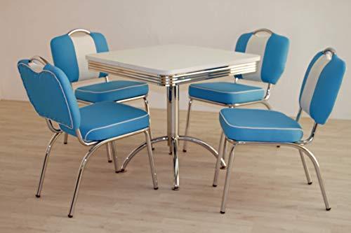 moebelstore24 Sitzgruppe American Diner Essgruppe Paul/King 5-50 er Jahre 5 teilig Blau weiß