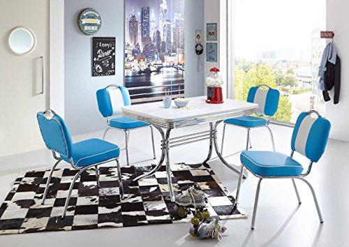 moebelstore24 Sitzgruppe American Diner Essgruppe Paul/King 6-50 er Jahre 5 teilig Tisch und Stuhl