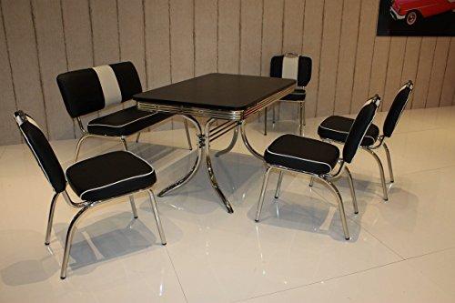 moebelstore24 Sitzgruppe American Diner Essgruppe Paul/King 6-50er Jahre 6 Teilig Schwarz-weiß