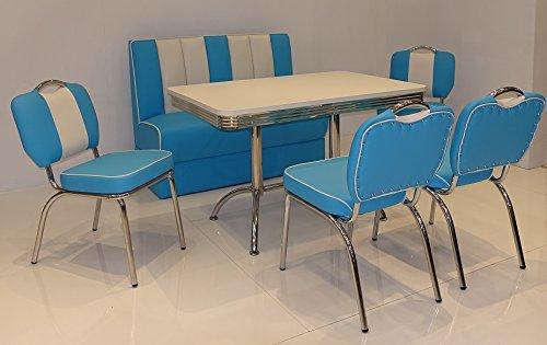 moebelstore24 Sitzgruppe American Diner Vegas/Paul/King 4-50er Jahre Blau-weiß