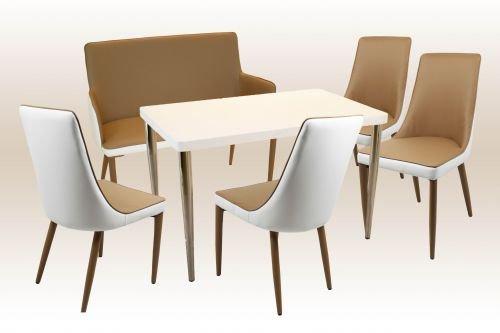 moebelstore24 Sitzgruppe Bankgruppe Mila 6-tlg. 120 x75 cm Hochglanz Weiß Stühle Weiß/Braun