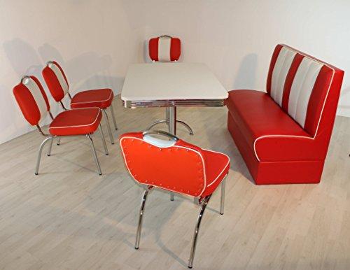 moebelstore24 Sitzgruppe Bistrotisch American Diner Vegas/Paul/King 4-50er Jahre