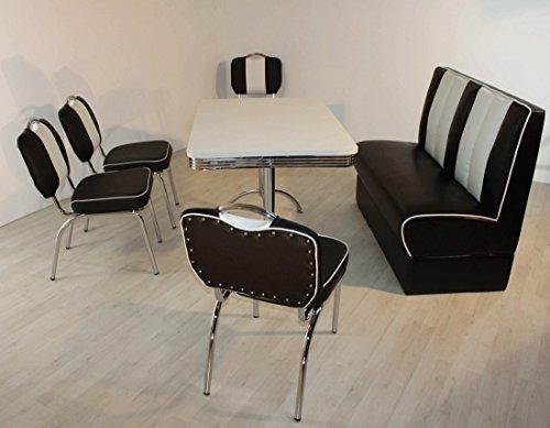 moebelstore24 Sitzgruppe Essgruppe American Diner Vegas/Paul/King 4-50er Jahre 6 Teilig Schwarz-weiß