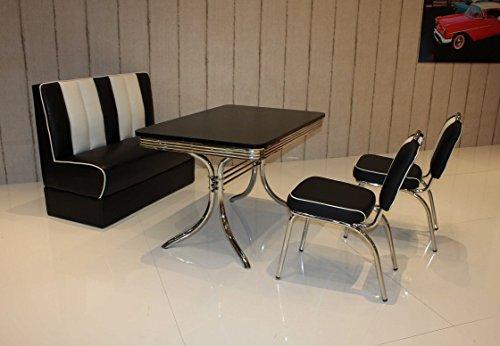 moebelstore24 Sitzgruppe Tischgruppe Bistrotisch American Diner Vegas/Paul/King 6-50er Jahre