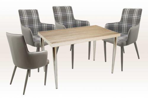 moebelstore24 Sitzgruppe Tischgruppe Maja 5-tlg. Tisch 120 x 75 cm Sonoma Eiche Sessel Grau/Weiß