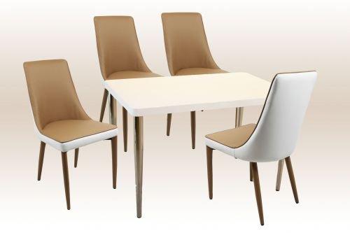 moebelstore24 Sitzgruppe Tischgruppe Mila 5tlg.120 x 75 cm Hochglanz Weiß Stühle Weiß/Braun