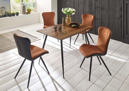 moebelstore24 Sitzgruppe Tischgruppe Valery-Victor Tisc Braun, Stühle cognacbraun