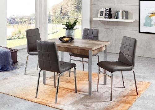 moebelstore24 Tischgruppe Sitzgruppe Hermes/Linda 5 Teilig, Tisch Monument Oak Dekor und Stühle Elefantengrau