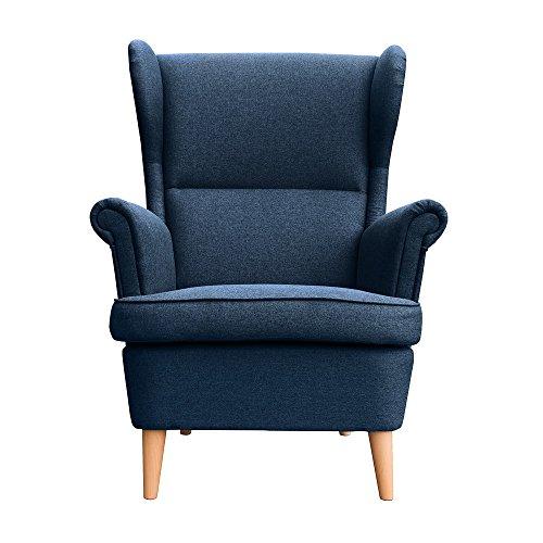 myHomery Sessel Luccy gepolstert - Ohrensessel Polsterstuhl für Esszimmer & Wohnzimmer - Lounge Sessel mit Armlehnen - Eleganter Retro Stuhl aus Stoff mit Holz Füßen -
