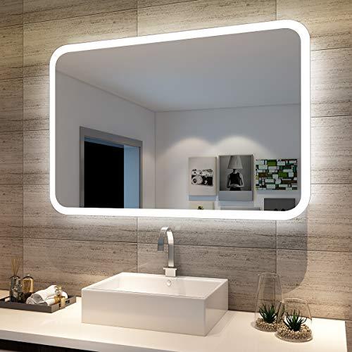 sunnyshowers Badspiegel LED Spiegel (eckig) mit LED Beleuchtung Wandspiegel Badzimmerspiegel kaltweiß IP44 energiesparend Wandschalter